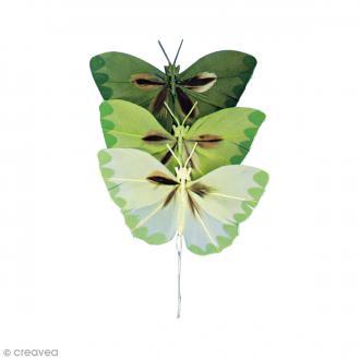 Papillons en plumes - Teintes vertes - 6 pcs