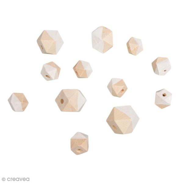 Perles en bois - Diamant bicolore blanc - 2 tailles - 12 pcs - Photo n°1