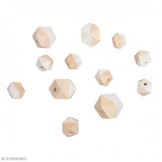 Perles en bois - Diamant bicolore blanc - 2 tailles - 12 pcs