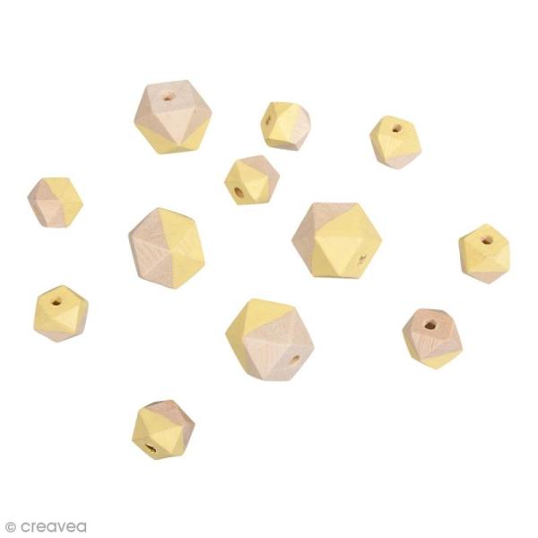 Perles en bois - Diamant bicolore Jaune banane - 2 tailles - 12 pcs - Photo n°1