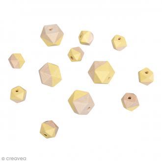 Perles en bois - Diamant bicolore Jaune banane - 2 tailles - 12 pcs