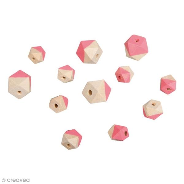 Perles en bois - Diamant bicolore Rose foncé mat - 2 tailles - 12 pcs - Photo n°1