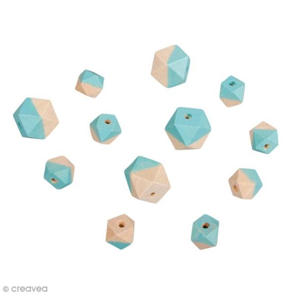 Perles en bois - Diamant bicolore Bleu turquoise d'Inde - 2 tailles - 12 pcs - Photo n°1