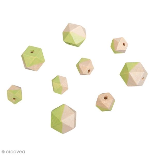 Perles en bois - Diamant bicolore Vert mai - 2 tailles - 12 pcs - Photo n°1