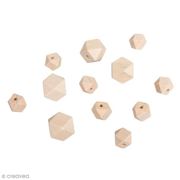 Perles en bois - Diamant bois naturel - 2 tailles - 12 pcs - Photo n°1