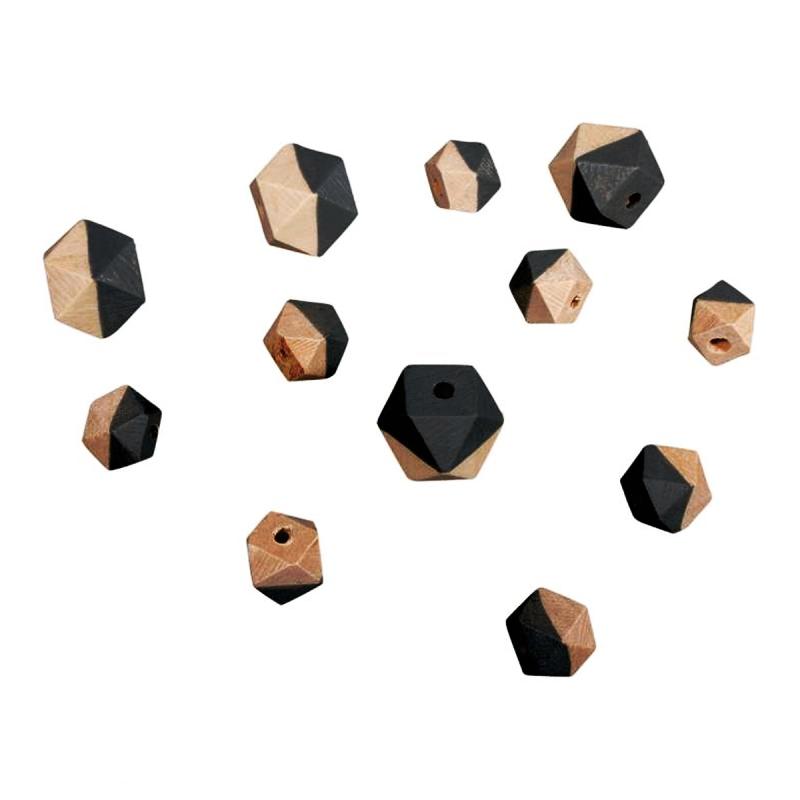 Perles en bois - Diamant bicolore Gris clair - 2 tailles - 12 pcs - Photo n°1