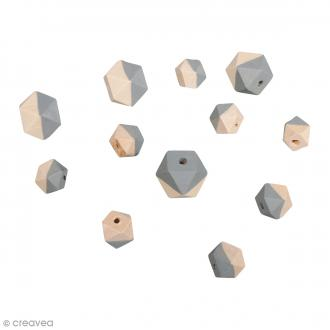 Perles en bois - Diamant bicolore Gris clair - 2 tailles - 12 pcs