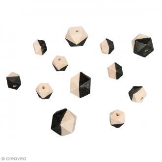 Perles en bois - Diamant bicolore Noir - 2 tailles - 12 pcs