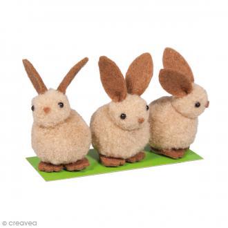 Lapins duveteux - Marron clair - 5 cm - 3 pcs