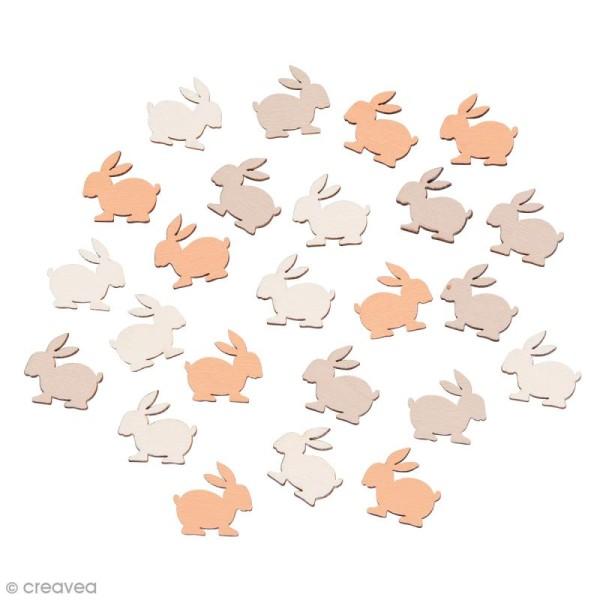 Miniatures en bois - 3 couleurs - Lapin - 1,7 x 1,6 cm - 24 pcs - Photo n°1