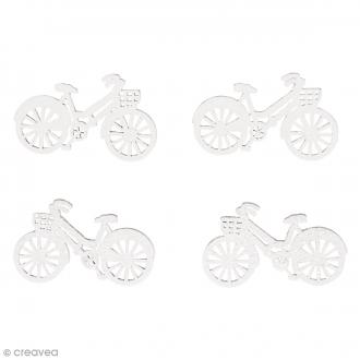 Formes en bois - Bicyclette - Blanc - 4 x 2 cm - 10 pcs