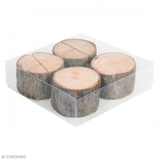 Rondelles en bois porte nom - Diamètre 3 et 5 cm- 4 pcs