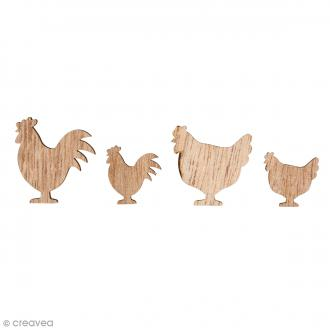 Formes en bois - Poules - 2 et 3,5 cm - 16 pcs