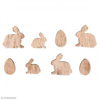 Formes en bois - Lapins et oeufs -  - 2 à 3 cm - 16 pcs