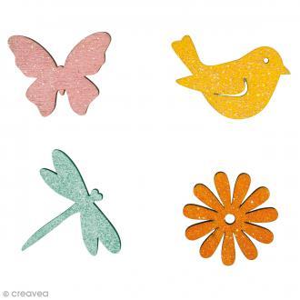 Formes en bois - Printemps - Multicolore - 3 à 4 cm - 12 pcs