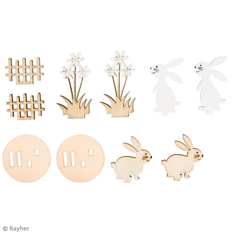 Mini Déco 3D sur socle à monter - Lapins et fleurs - 10 pcs - Photo n°3