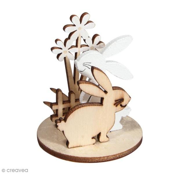 Mini Déco 3D sur socle à monter - Lapins et fleurs - 10 pcs - Photo n°1