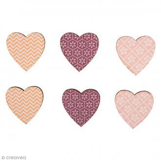 Formes en bois - Coeur - Teinte roses - 3 cm - 12 pcs