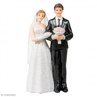 Figurine mariés en polyrésine pour décoration de mariage - 5 x 11 cm