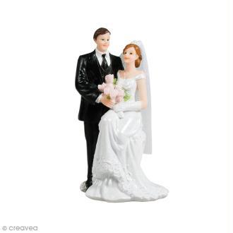 Figurine mariés en polyrésine pour décoration de mariage - 7 x 13 cm