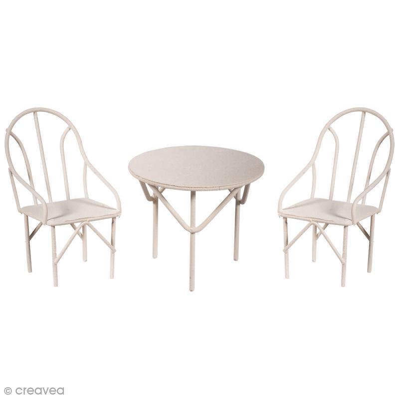 D corations de jardin miniatures table et chaises en for Decoration jardin en metal