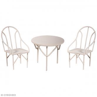 Décorations de jardin miniatures - Table et chaises en métal