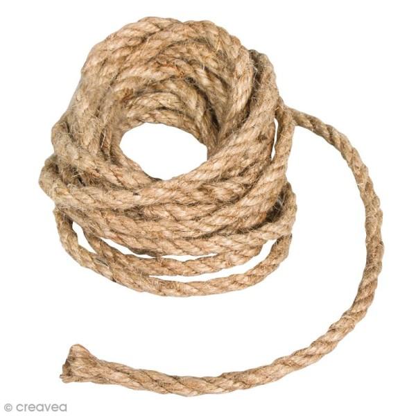Grosse corde en jute - Naturel - 6 mm x 3 m - Photo n°1