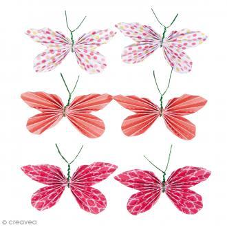 Stickers Papillons en papier - Corail - 5 x 3 cm - 6 pcs