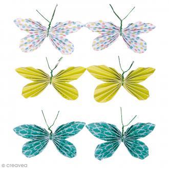 Stickers Papillons en papier - Vert éternel - 5 x 3 cm - 6 pcs