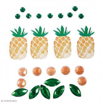 Stickers Tropic Ananas et perles et strass - De 0,5 cm à 5 cm - 26 pcs