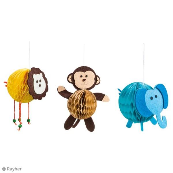 Kit Suspensions animaux nid d'abeille - Lion, éléphant, singe - 3 pcs - Photo n°2