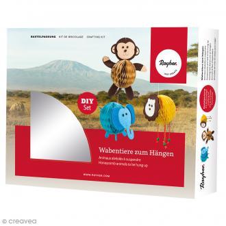 Kit Suspensions animaux nid d'abeille - Lion, éléphant, singe - 3 pcs
