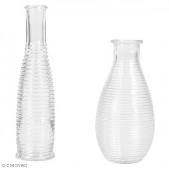Set vases en verre à rainures - 14 et 18 cm - 2 pcs