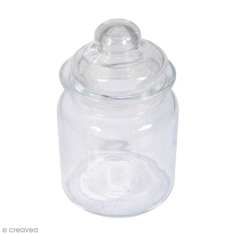 r cipient en verre lisse avec couvercle 8 x 12 5 cm 280 ml pots et cloches en verre creavea. Black Bedroom Furniture Sets. Home Design Ideas