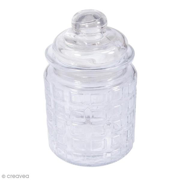 Récipient en verre carreaux avec couvercle - 8 x 12,5 cm - 280 ml - Photo n°1