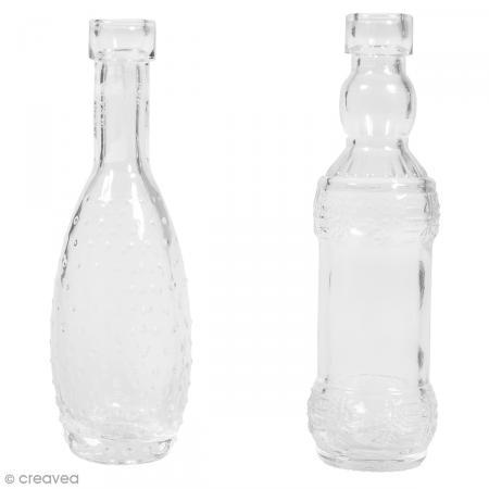 Set mini vases en verre assortis - 1,5 cm - 2 pcs - Photo n°1