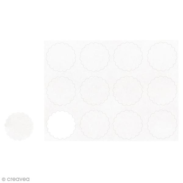 Autocollants vierges Blancs - Cercles festonnés 3,5 cm - 12 pcs - Photo n°1