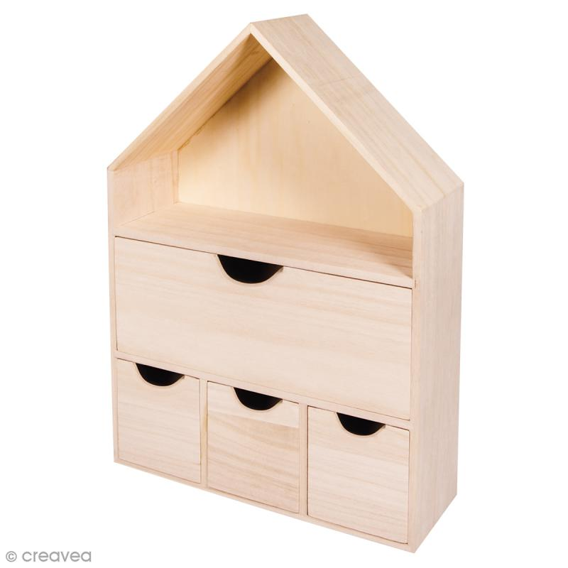Maison en bois d corer 28 x 10 x 41 cm meuble for Maison a decorer
