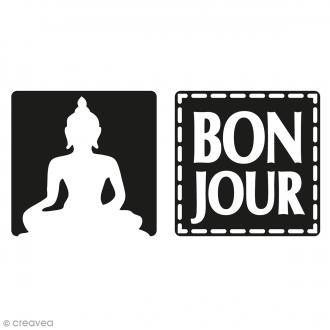 Labels Bonjour et Boudha - Tampons pour savon 25 mm - 2 pcs