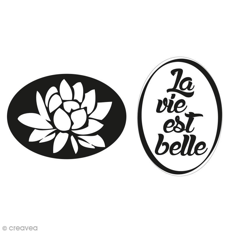 Labels La vie est belle et nénuphar - Tampons pour savon 35 x 25 mm - 2 pcs - Photo n°1