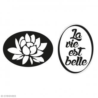 Labels La vie est belle et nénuphar - Tampons pour savon 35 x 25 mm - 2 pcs