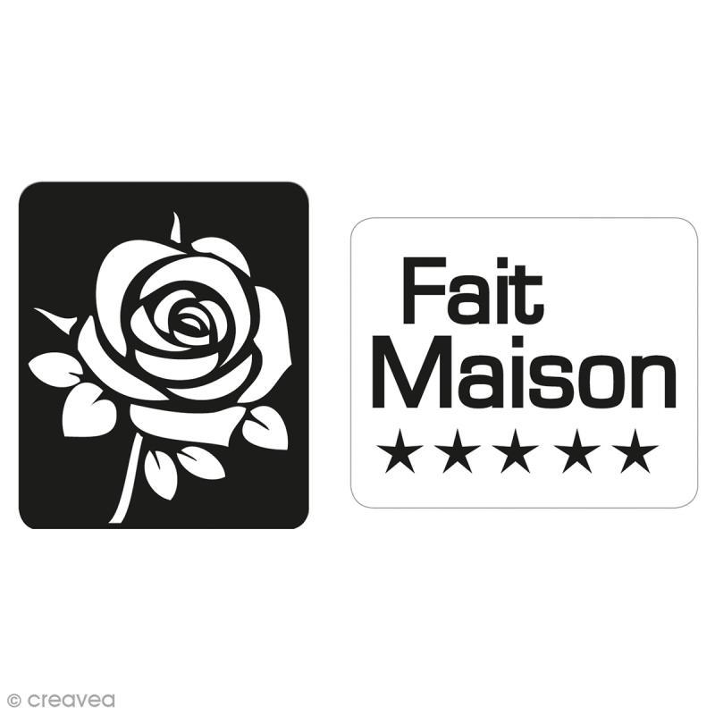 Labels Fait maison et rose - Tampons pour savon 25 x 30 mm - 2 pcs - Photo n°1
