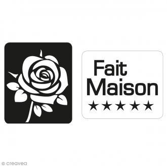 Labels Fait maison et rose - Tampons pour savon 25 x 30 mm - 2 pcs