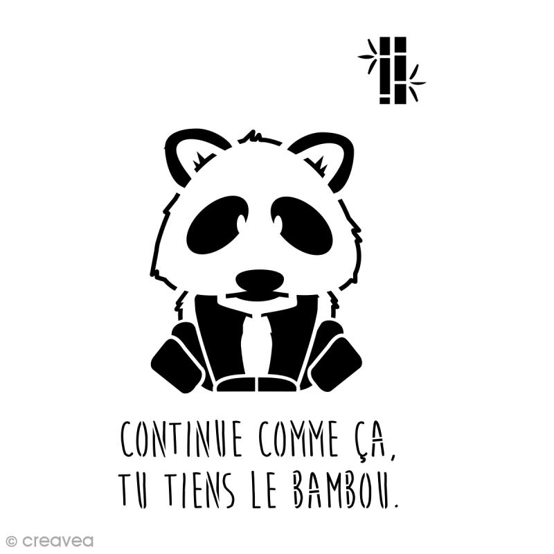 Pochoir multiusage A4 - Panda avec phrase - Photo n°1