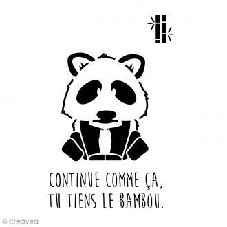 Pochoir home déco A4 - Panda avec phrase