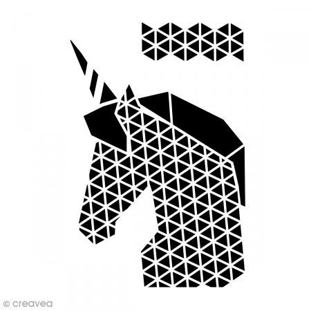 Pochoir multiusage a4 licorne g om trique pochoir for Pochoir geometrique