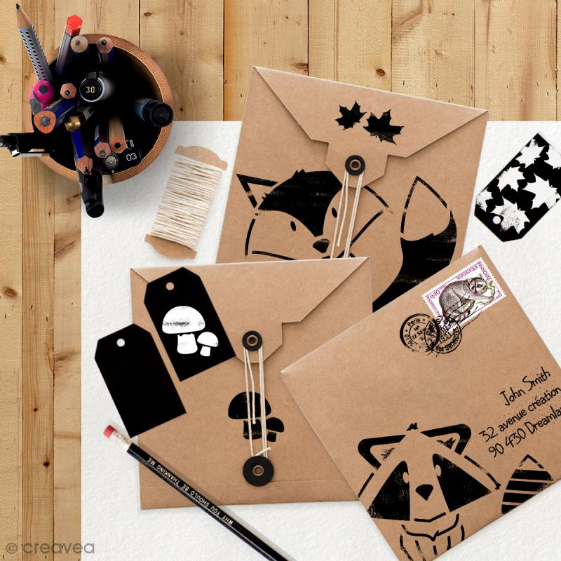 Pochoir multiusages 15 x 15 cm - Animaux rigolos - 4 pcs - Photo n°2
