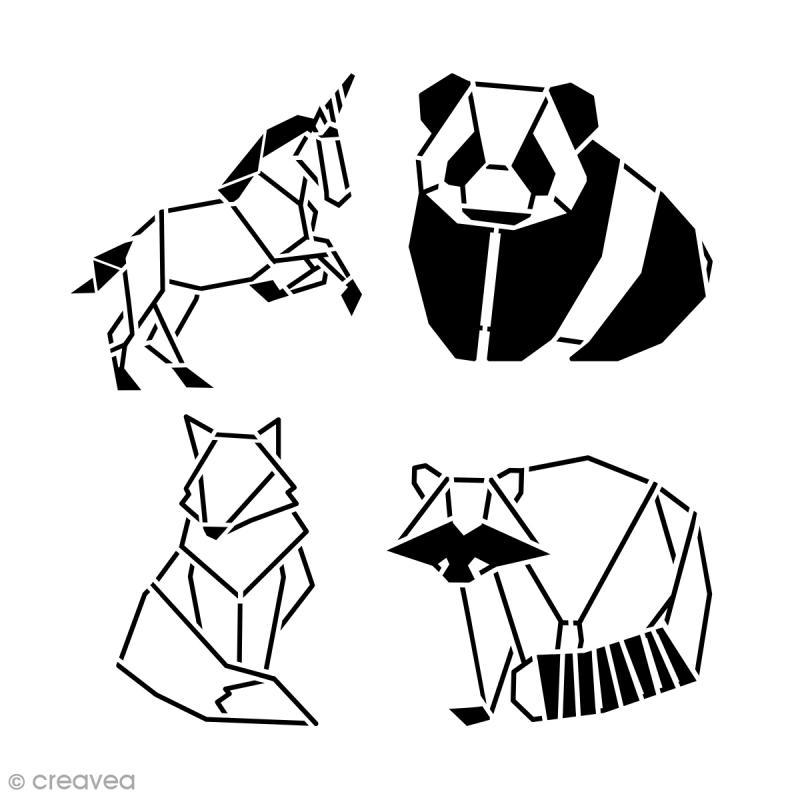 pochoir multiusages 15 x 15 cm animaux origami 4 pcs pochoir mural creavea. Black Bedroom Furniture Sets. Home Design Ideas