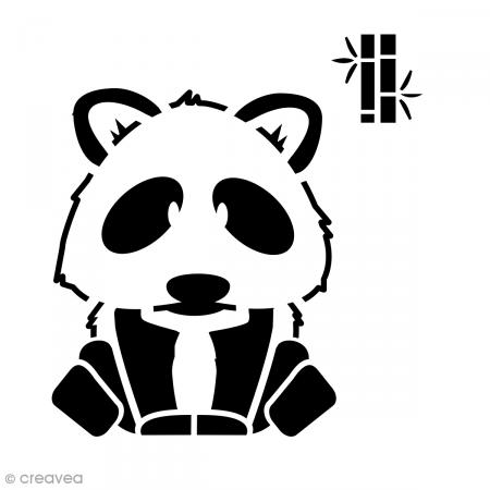 pochoir multiusage 15 x 15 cm panda pochoir mural creavea. Black Bedroom Furniture Sets. Home Design Ideas