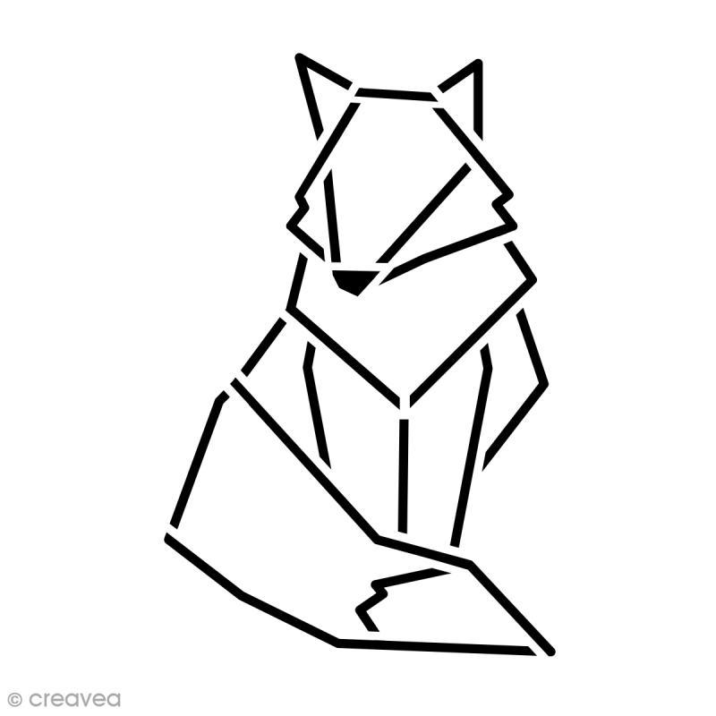 Pochoir multiusage 15 x 15 cm renard g om trique pochoir mural creavea - Dessin geometrique a faire ...